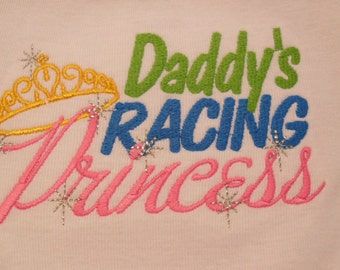 Sew Sassy Tee's Daddy's Racing Princess Embroidered T-Shirt Babies or Kids Shirt Birthday Shirt Funny Shirt