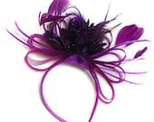 Plum Magenta and Dark Purple Fascinator on Headband Alice Band UK Wedding Ascot Races Loop