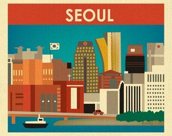 SALE Seoul Skyline Print, South Korea Wall Art, Korean Travel Poster, Korean Wall Art, Horizontal Print, Seoul Nursery Art - style E11-O-SEO