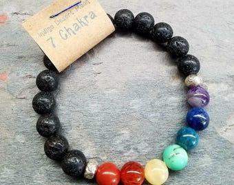 Chakra Bracelet, Boho Bracelet, Lava Bracelet, Yoga Bracelet, Meditation Bracelet, Beaded Bracelet, Stretch Bracelet, 7 Chakra Gemstone