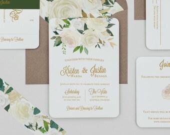 Boho Rustic White Floral Wedding Invitations, Boho White and Green Wedding Invite,White Rose Wedding Invitation,Rustic Spring Wedding Invite