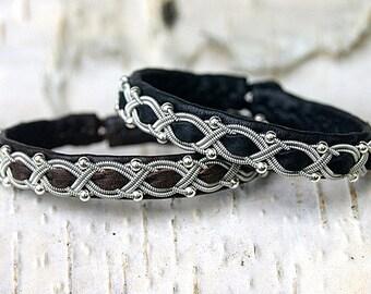 Sami bracelet   Nordic Swedish Lapland bracelet    Wrap leather cuff bracelet   Reindeer leather scandinavian armband   Friendship bangle