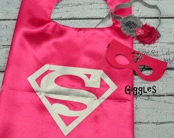 Hot Pink Supergirl Cape Mask & Headband Set - Kids Costume - Superhero Halloween Dress Up - Girl Capes - Birthday Party Favors - Capes Masks