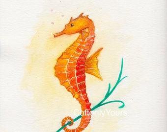 Watercolor Print - Seahorse