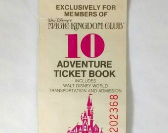 1978 Walt Disney World Magic Kingdom Club Adventure Ticket Book Stub