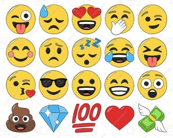 Emoji Clipart Vector Pack, Smiley Faces Clipart, Hand Drawn Emoji Clipart, Printable Emoji, Emoji Vectors, Emoji Stickers, SVG, PNG file