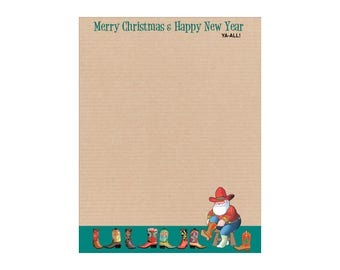 Christmas Stationery - Western Holiday Letterhead -8.5 x 11 inches - 80 Paper Sheets - 6504