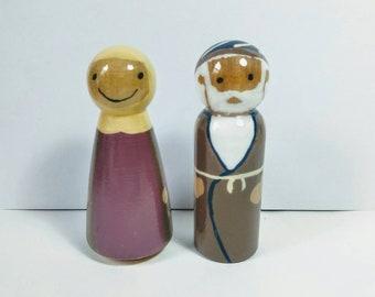 Patriarch& Matriarch, Avos/Imahos, biblical, Jewish, ancient Israel,  wood peg people sets