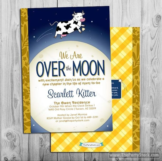 Nursery rhyme baby shower invitation printable cow jumped like this item filmwisefo Images