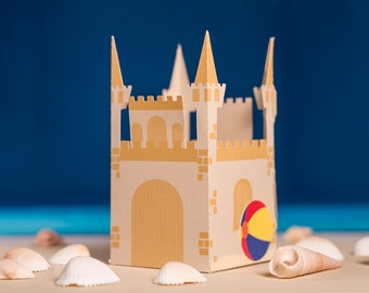 Summer / Beach Party Sand Castle Favor Box (Set of 4)