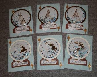Christmas Tree and Reindeer Shaker Season Greetings Blank Note Card Set