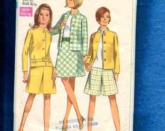 1960's Simplicity 7545 Preppy Star Trek Chic Jacket Culottes & A-Line Skirt Pattern Size Small 10