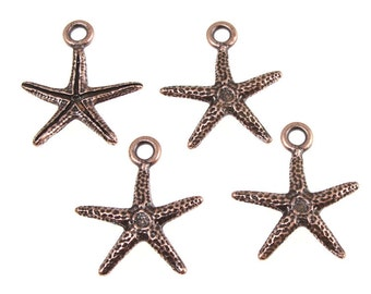 TierraCast SEASTAR CHARMS - Antique Copper Charms - Star Fish Starfish Sea Star Tierra Cast Pewter Charms - Beach Ocean Supplies (P515)