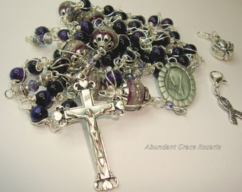 Catholic rosary,rosary,Mother of Sorrows, St. Peregrine, cancer rosary,purple tiger eye, unbreakable,wire wrapped,Abundant Grace Rosaries