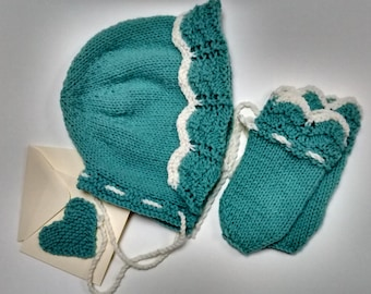 Hand knitted vintage style bonnet with matching mittens. Cosy accessory set.  Duck-egg blue with off-white edging.Gift card
