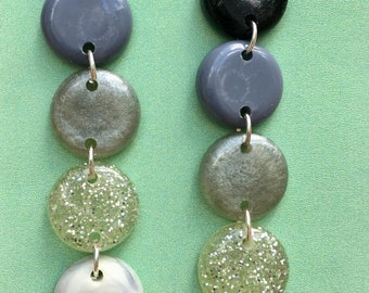 Resin Round Statement Earrings - Black White Marble Mix