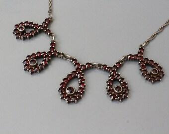 Romantic older vintage genuine Bohemian garnet on sterling silver necklace.