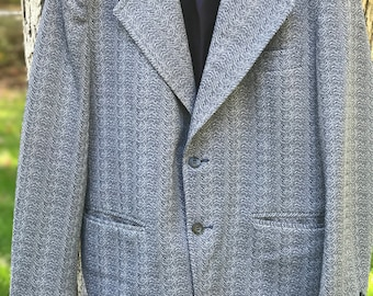 custom made blue textured blazer with navy blue lining