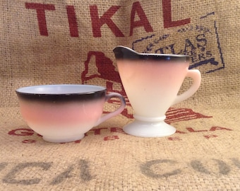 Vintage Pink and Black Tea Cup and Creamer Anchor Hocking Milk Glass