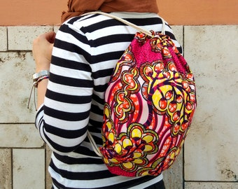 Light Ethnic Rope Bag, African Style Plants, Pink and Yellow Summer Drawstring Backpack