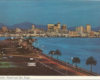 Vintage Postcard San Diego Harbour Island Pacific Ocean Bayside California United States USA Photochrome Card Postally Unused