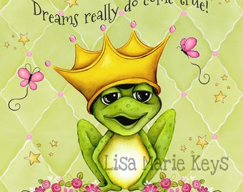 Frog Wall Art ~ Prince Frog ~Girls Nursery ~ Pink Green Butterflies ~ Childrens Wall Art ~  Girls Room ~ Frog Decor ~  Art Print ~ Princess