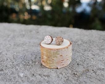 Wood Circle Earrings // Geometric Rose Gold Sparkle Studs // Galaxy Wood Earrings // Circle Earrings // Glitter Studs // Minimal