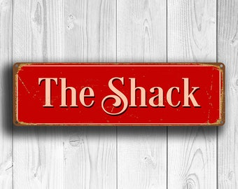 THE SHACK Sign, Shack Signs, Bar Decor, Shack Decor, Vintage Style The Shack Sign, Suitable for indoor or Outdoors, Red Sign, The Shack