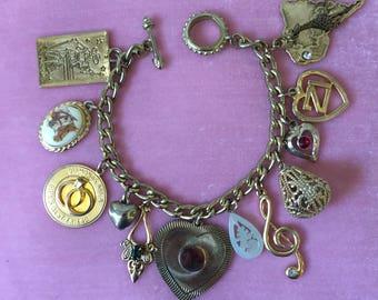 """Charm Bracelet Hand Assembled Unique 8""""L Gold-Toned Vintage Costume Jewelry"""