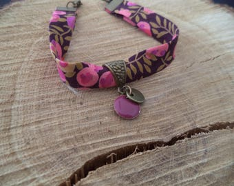 Plum and pink bracelet with liberty flowers, Brown and bronze sequin