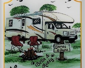 HAPPY CAMPERS-RV Signs-Weatherproof-Personalized