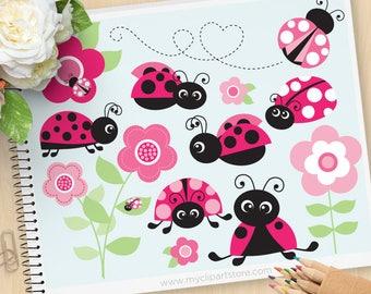 Pink Ladybug Garden Clipart, Ladybird clip art, garden clipart, gardening, Personal and Commercial Use Vector Clip Art, SVG Cut files