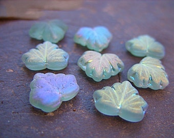 12MM Czech Frosty Green Leaf Beads with an AB Finish - B-6617