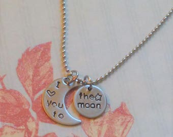 I love you to the moon stainless steel hand stamped necklace