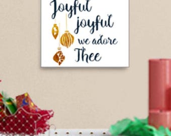 Download Print, Joyful Joyful We Adore You, Printable Art, Christmas Carol Home Décor, Holiday Party Gift for Host Hostess