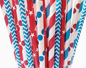 Stars & Stripes Paper Straws - 50 Patriotic Red white blue chevron 4th of July Straw -Summer BBQ USA