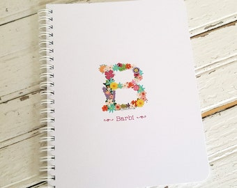 Flower Initial Small Spiral Notebook Personalized with Name, Travel Size Notebook - Personalized Gift, Small Gift for Kids, Gift for Girls