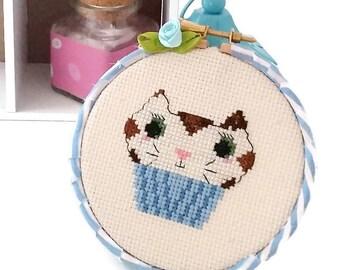 Meowfin Cat Cupcake  Cross Stitch Hoop-Ready to Hang-Wall Art-Kitchen Decor-original design-Cat Sitter Gift-Cat Lady Kitsch-Cupcake Art