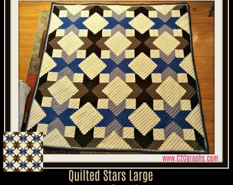 Quilted Stars C2C Graph, Brown, Quilted Stars Large, Quilted Stars Afghan, Quilted Stars Crochet Pattern