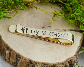 Personalized Secret Message Skinny Tie Bar with Custom Monogram - Hand Stamped Groom Gift - Personalized Boyfriend or Husband Gift