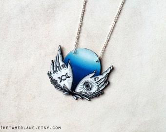Palmistry Palm Reading Hand Fortune Teller Occult Necklace Crystal Ball Gypsy Witchcraft Pendant Ouija Board Planchette