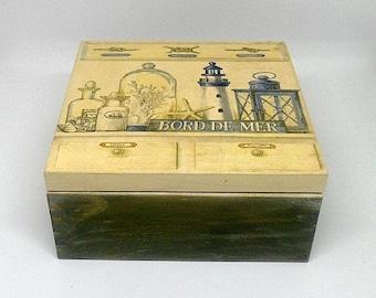 Vintage style wooden tea box , decoupage box , vintage marine theme