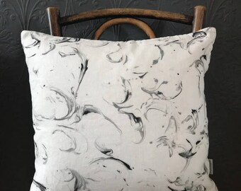 Hand printed linen monochrome marble cushion cover. Pure linen throw pillow