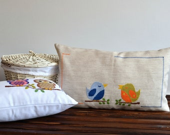 Hand Embroidery Birds Throw Pillow Cover - Lumbar Pillow Cover - Decorative Bird Pillow - Bird Cushion - Embroidered Pillow