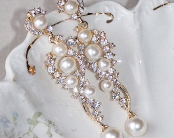 NEW Gorgeous Gold Pearl Chandelier Drop Earring,White Crystal Pearl Earring,Clear Rhinestone,Bridal Weddings,Statement,Long Earrings,Post