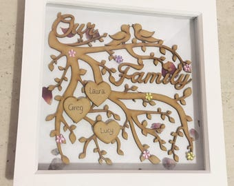 Family tree frame, Mother's Day gift, family tree box frame, personalised gift, mom gift, gift for mom, new parent gift, family tree,
