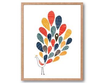Peacock Art Print, Bird illustration, Bird Print, Peacock Feathers, Animal Illustration, Wall Art prints, Nursery decor