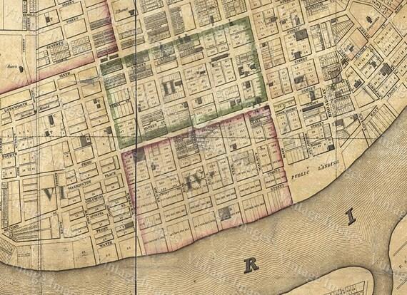 1838 Cincinnati Ohio Street Map Old Map of Cincinnati Historic Restoration Hardware Style Cincinnati Fine Art Print Wall map Home Decor Gift