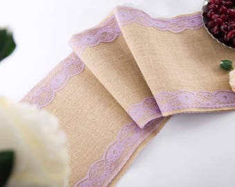 """Natural Jute Burlap Table Runner with Purple Lace 12"""" Wide, Vintage Wedding Decorations, Bridal Shower, Baby Shower, Rustic Decor."""