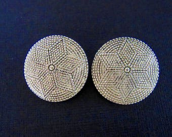 Vintage silver tone clip on earrings with raised 6 point star by Ellen Designs - Large & Bold! - Statement earrings -  Free U.S. Shipping